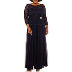 Jackie Jon 3/4 Sleeve Embellished Evening Gown-Plus