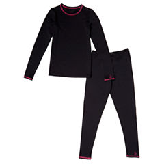 Cuddl Duds Round Neck Long Sleeve Thermal Set Girls