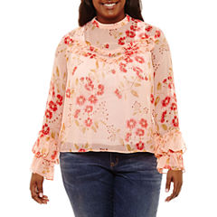 Arizona Long Sleeve High Neck Chiffon Floral Blouse-Juniors Plus