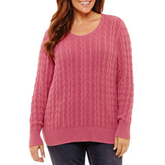 St. John's Bay Long Sleeve Crew Neck Pullover Sweater-Plus