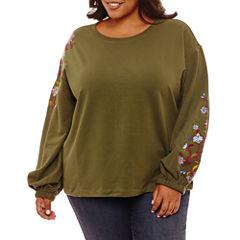a.n.a Long Sleeve Floral Sweatshirt-Plus