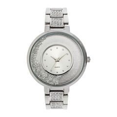 Womens Crystal-Accent Glitz Silver-Tone Bracelet Watch