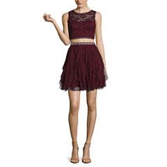 My Michelle® 2-pc. Sleeveless Corkscrew-Skirt Party Dress - Juniors