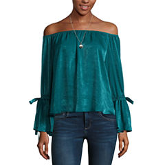 by&by Long Sleeve Round Neck Satin Blouse-Juniors