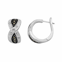 Sparkle Allure Clear Silver Over Brass Hoop Earrings