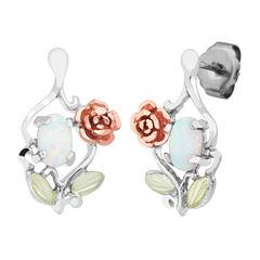 Landstroms Black Hills Gold Lab Created Opal Sterling Silver Drop Earrings