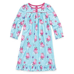 Long Sleeve Peppa Pig Nightgown-Toddler Girls