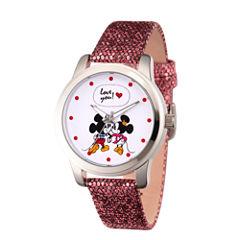 Disney Mickey Mouse Womens Black Strap Watch-Wds000345