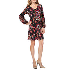 MSK Long Sleeve Floral Shift Dress