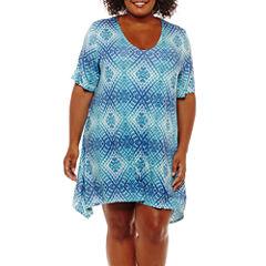 Porto Cruz Diamond Jersey Swimsuit Cover-Up Dress-Plus