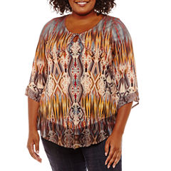 Unity World Wear 3/4 Sleeve Scoop Neck Knit Abstract Blouse-Plus