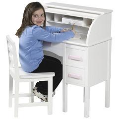 Guidecraft Jr. Roll-Top Desk & Chair - White
