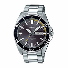 Casio Mens Silver Tone Bracelet Watch-Mtd120d-8a