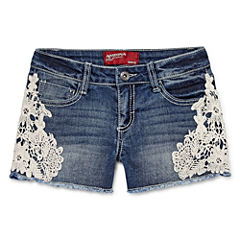 Arizona Twill At Waist Shortie Shorts - Big Kid Girls Plus