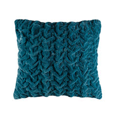 Madison Park Ruched Fur Euro Throw Pillow