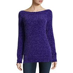 Liz Claiborne Long Sleeve Boat Neck Chenille Sweater