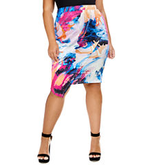 Fashion To Figure Valeria Marble Print Asymmetrical Pencil Skirt - Plus