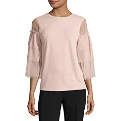 Worthington 3/4 Sleeve Scoop Neck T-Shirt-Womens
