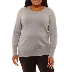 Worthington Long Sleeve Crew Neck Pullover Sweater-Plus