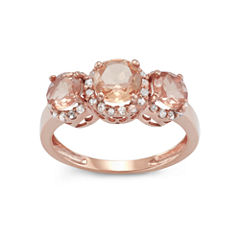 Simulated Morganite Quartz And 1/4 C.T. T.W.Diamond 10K Rose Gold Ring