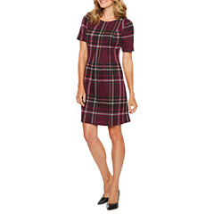 Jessica Howard Short Sleeve Plaid Shift Dress