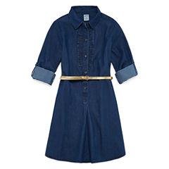 Arizona Belted Long Sleeve Cuffed Sleeve Shirt Dress - Big Kid Girls