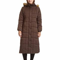 Excelled® Faux-Fur Trim Long Puffer Jacket