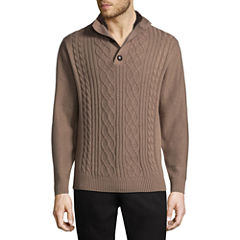 Haggar Mock Neck Long Sleeve Pullover Sweater