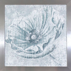 Decor Therapy Distressed Ivory Flower in Chrome Frame