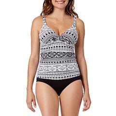 Liz Claiborne Santorini Stripe Tankini Swimsuit Top