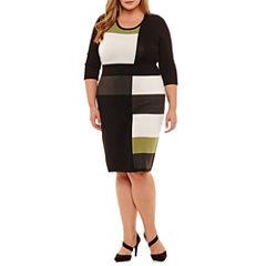 Danny & Nicole Elbow Sleeve Sweater Dress - Plus