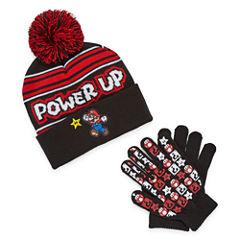 Mario Beanie & Glove Set - Boys Big Kid