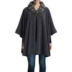 Mixit Toggle Faux Fur Trim Cold Weather Wrap