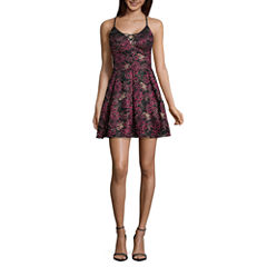 Jump Girl Sleeveless Floral Fit & Flare Dress-Juniors