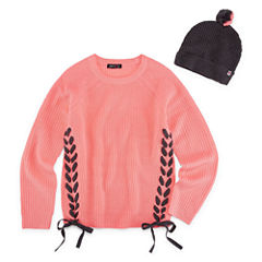 Limited Too Long Sleeve Lace Up Cable Knit Sweater with Beanie Hat - Girls' 7-16