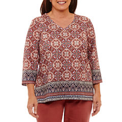 Alfred Dunner Gypsy Moon 3/4 Sleeve V Neck T-Shirt-Womens Plus