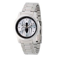 Spiderman Mens Silver Tone Strap Watch-Wma000209