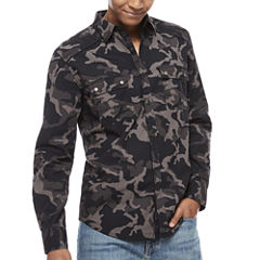 Decree Long Sleeve Camouflage Button-Front Shirt