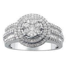 Diamond Blossom Womens 3/4 CT. T.W. Genuine White Diamond 10K Gold Cocktail Ring