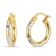 18K Sterling Silver Gold Over Silver Hoop Earrings