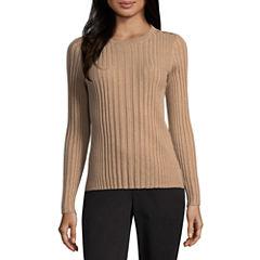 Liz Claiborne Long Sleeve Crew Neck Button Shoulder Sweater
