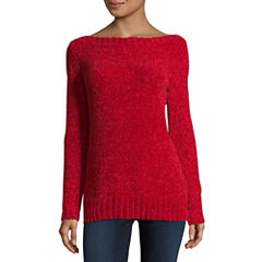 Liz Claiborne Long Sleeve Boat Neck Chenille Sweater