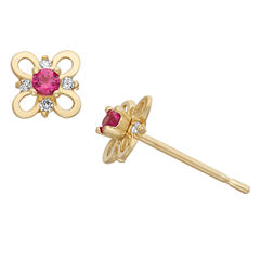 Round Pink Cubic Zirconia 14K Gold Stud Earrings