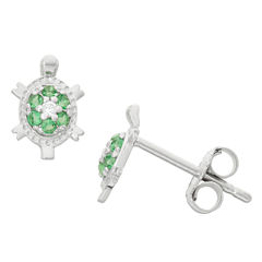 Round Green Cubic Zirconia Sterling Silver Stud Earrings