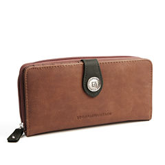 Stone Mountain Nubuck Leather Tab Zip Around Zip Around Wallet