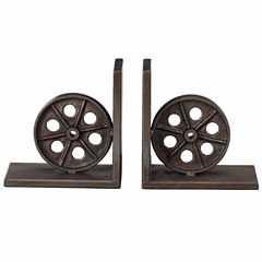 INK + IVY Train Wheel Metal Bookends