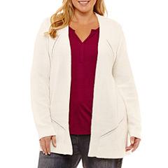 Liz Claiborne Textured Cardigan- Plus