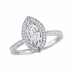 Womens 3/4 CT. T.W. Genuine Marquise White Diamond 14K Gold Engagement Ring