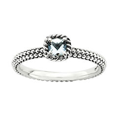 Personally Stackable Checker-Cut Genuine Aquamarine Ring