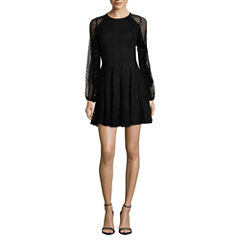 City Triangle Long Sleeve A-Line Dress-Juniors